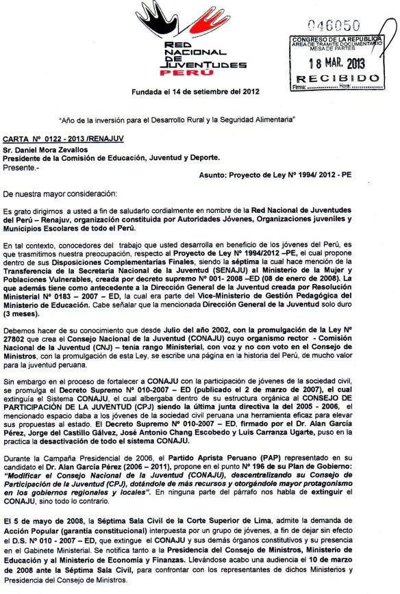 CARTA AL PRESIDENTE DE LA COMISION